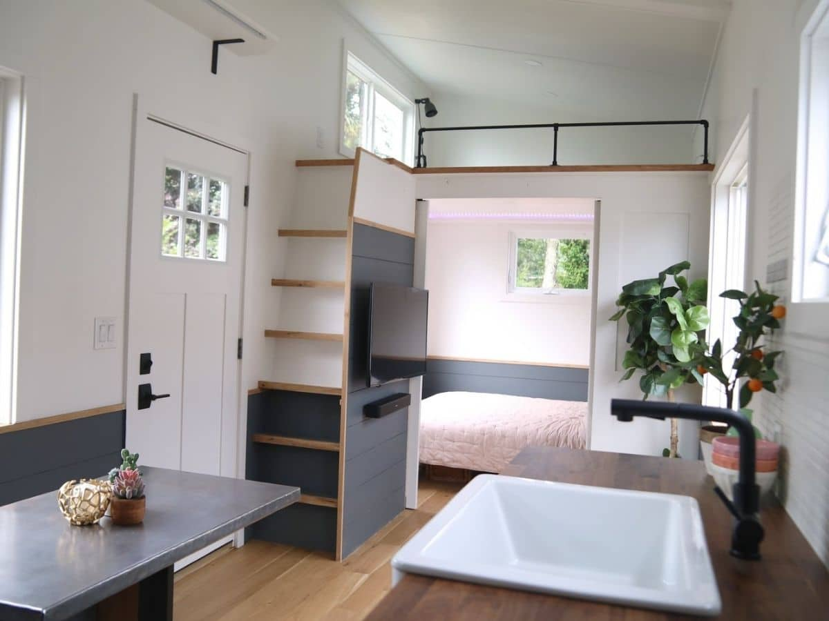 front door and stairs to left with kitchen sink on right inside tiny home